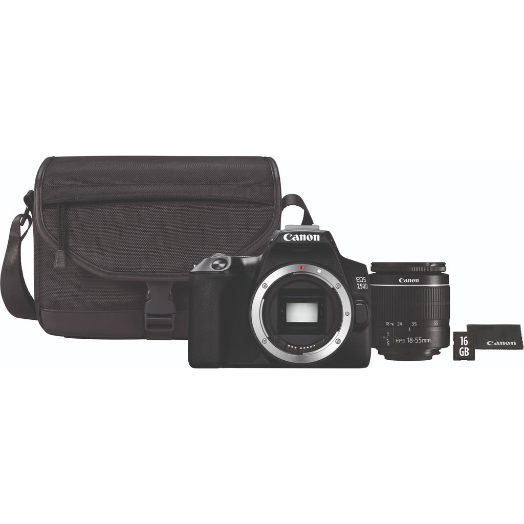 Canon EOS 250D Zwart + 18-55mm f/3.5-5.6 DC III + Tas + 16GB geheugenkaart + doekje bestellen