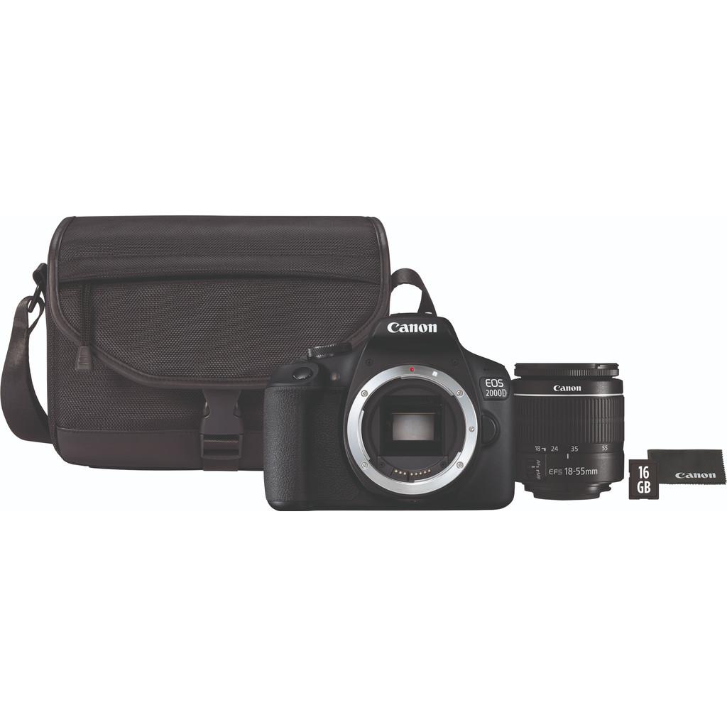 Canon EOS 2000D + 18-55mm f/3.5-5.6 DC III + Tas + 16GB Geheugenkaart bestellen